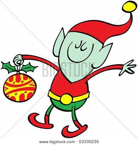 Green elf bringing a Xmas bauble