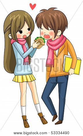 Cute Girl Is Feeding Hamburger To Her Boyfriend