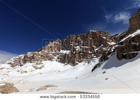 Snowy Plateau At Nice Spring Day