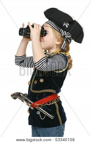Little pirate looking through the binoculars
