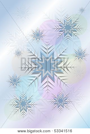 Flickering background with snowflakes and a circle