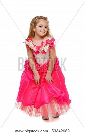 Girl in pink princess dress