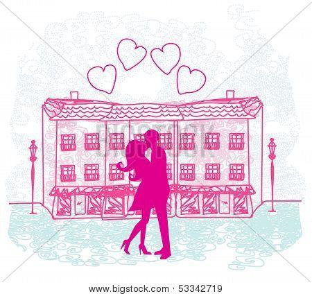 Romantic Valentine Retro Postcard With Kissing Couple