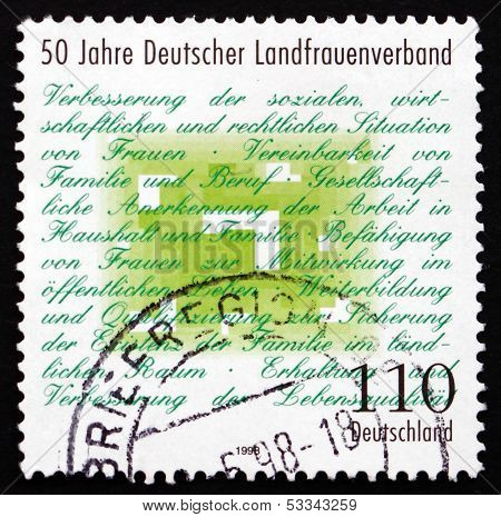 Postage Stamp Germany 1998 German Rural Women's Association