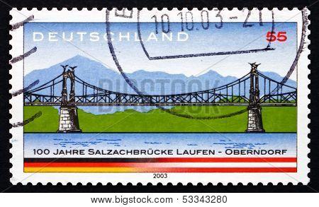 Postage Stamp Germany 2003 Salzach River Bridge
