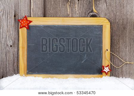 Christmas Card With Old Slate Chalkboard And Copy Space