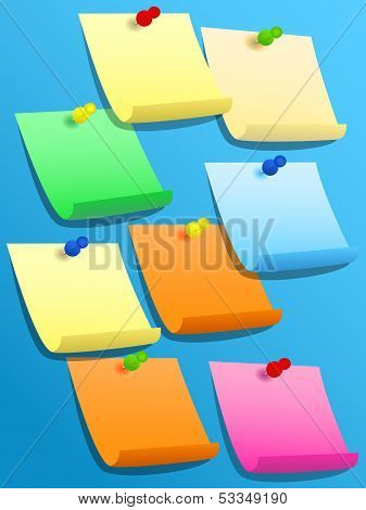Sticky Squares Of Different Colors With Pins