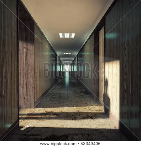 Open door  in a dark corridor.
