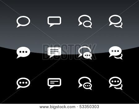 Speech bubble icons on black background.