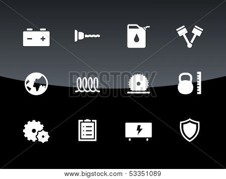Tools icons on black background.