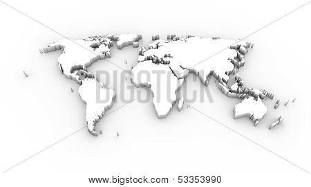 World map 3D white with clipping path