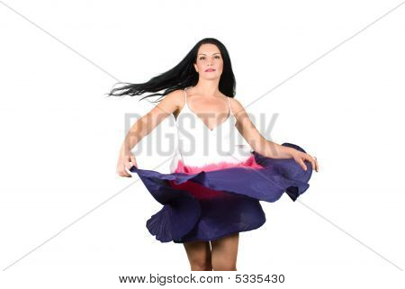 Beauty Woman Spinning Her Dress