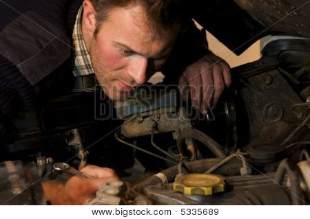 Fixing His Truck
