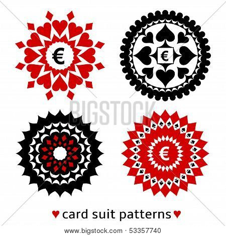 Four card suit round patterns