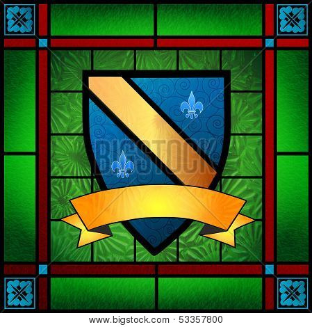 Family Crest Or Coat Of Arms Stained Glass Window