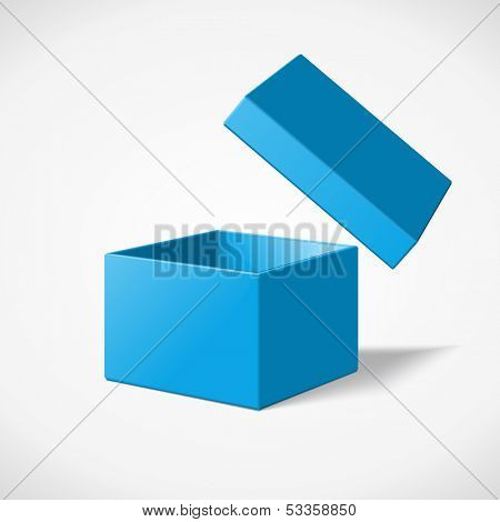 Open box isolated on white vector illustration.