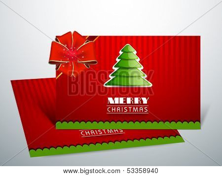 Beautiful Gift Cards for Happy New Year and Merry Christmas celebrations with glossy green Xmas tree and red ribbon on vintage red background.