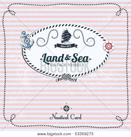 Vintage Nautical Card With Frame, Anchor And Wheel.