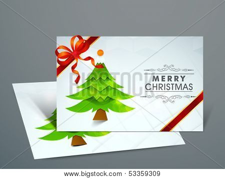 Beautiful Gift Cards for Happy New Year and Merry Christmas celebrations with green Xmas tree and red ribbon.