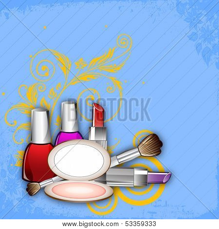 Makeup cosmetcis on floral decorated blue background.