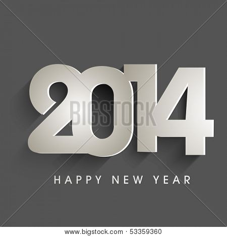 Happy New Year 2014 celebration concept with stylish text on dark grey background, can be use as flyer, banner or poster.
