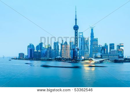 Shanghai Pudong In Nightfall