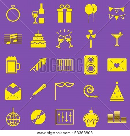 Celebration Yellow Icons On Violet Background