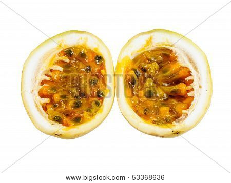 Opened Passion Fruit Isolated