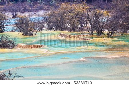Blue Travertine Ponds In Huanglong