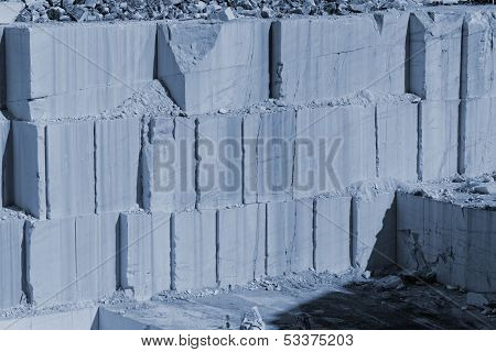 Thassos White Marble Quarry With Blue Color Filter