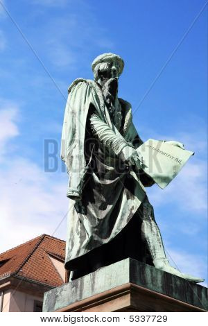 Statue Of Gutenberg In Strasbourg, France