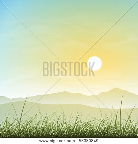 A Misty Landscape with Grass and Sunset, Sunrise