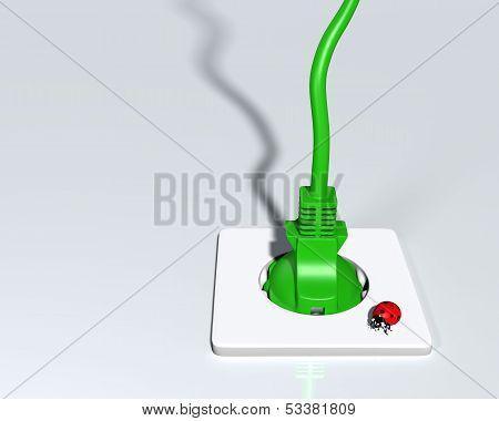 Ecological Plug With Ladybug On Socket