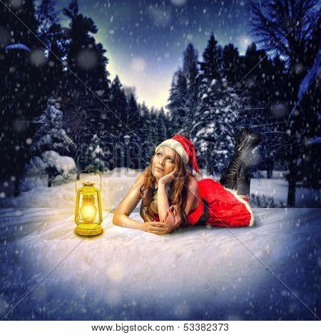 Christmas Card Desighn - Beautiful Woman