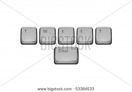 Word Tweet On Keyboard And Enter Key. Vector Concept Illustration.