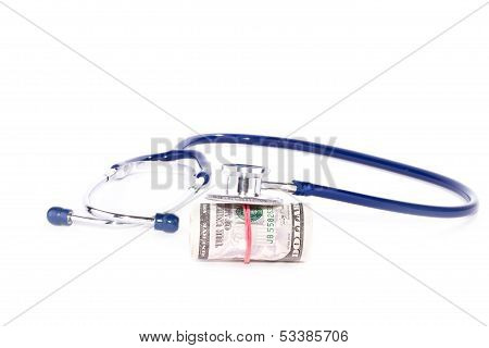 Doctor stethoscope with dollars