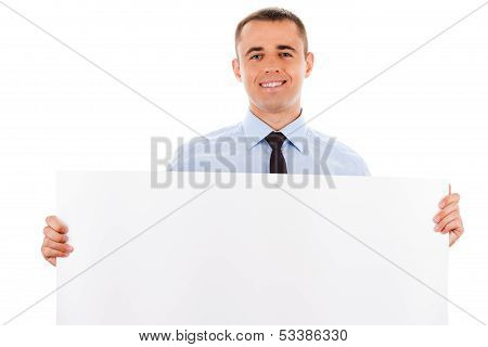 businessman holding white placard