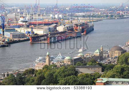 Harbour of Hamburg in Germany