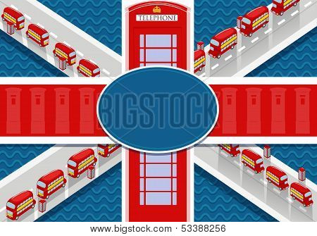 Great Britain Flag With Double Decker And Call-box