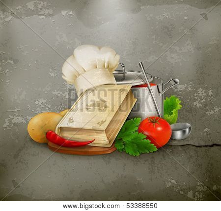 Cooking illustration, old style vector