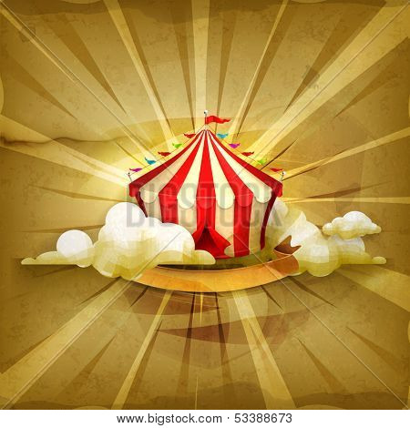 Circus, old style vector background