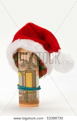 Santa Hat With Fifty Euro Banknote