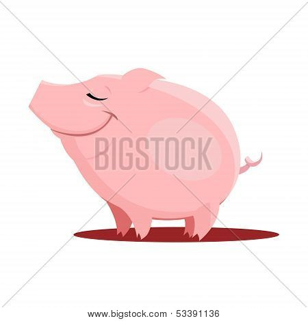 Illustration Of Little Cute Pig