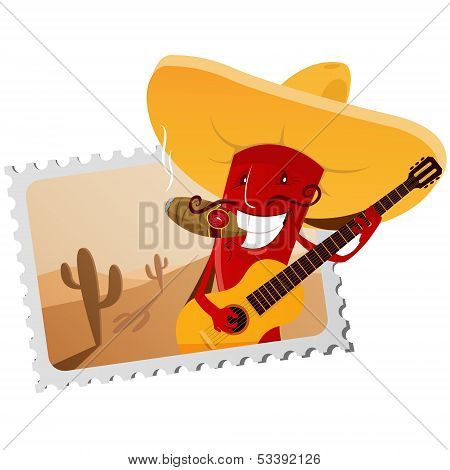 Postage Stamp With Chili Pepper