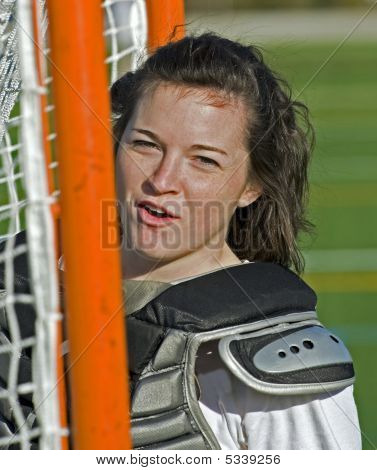 Girls Lacrosse goalie posing