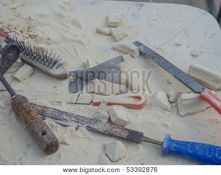 Tools Used For Stone Carving At Sculpture Festival