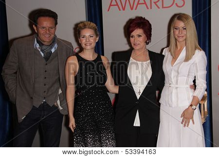 LOS ANGELES - NOV 07:  MARK BURNETT, ELISHA CUTHBERT, SHARON OSBOURNE &  JULIANNE HOUGH arrives to the People's Choice Awards 2012 Nominations  on November 7, 2011 in Beverly Hills, CA