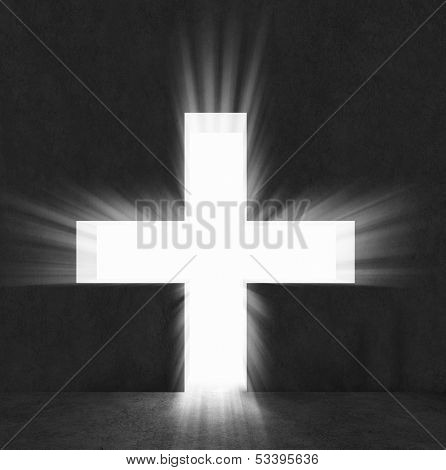 Background image with cross on black wall