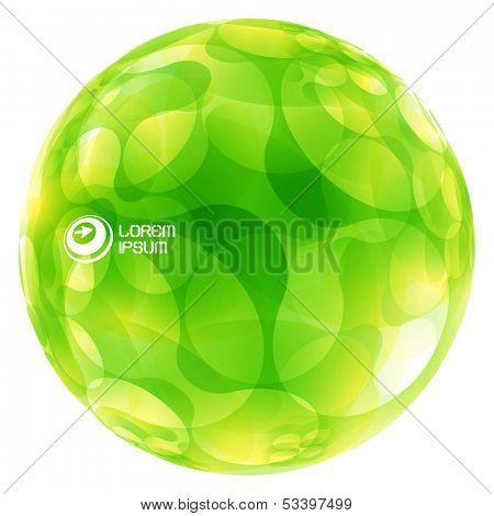 Abstract green globe. Vector illustration.