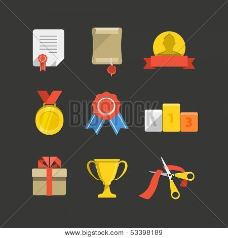 Competition prizes color flat icon set